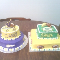 Vikings And Green Bay I made these for a grooms dinner. Bride a Vikings fan and groom a Green Bay fan. Credit goes to Green Bay and Vikings website for the...