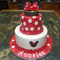 Minnie Mouse all buttercream cake with fondant accents.