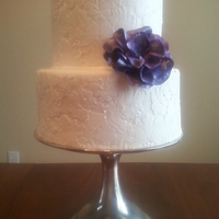 White On White Damask 15Th Anniversary Cake Buttercream MMF with royal icing damask pattern...I have been wanting to do two-tone white on white. Bottom layer chocolate cake with Oreo...