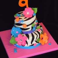 Tropical Zebra Cake Based off a picture the customer found on the internet...artist unknown but I love the design!