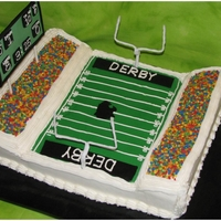 Football Stadium I made this cake for my son's birthday, per his request for a football stadium! Cake is chocolate on the field and the stands are...