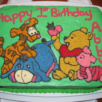 Baby Pooh And Friends Cake for my niece's first birthday