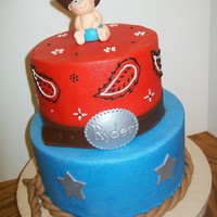 Little Cowboy 6 and 8 inch tiers iced in buttercream. Fondant belt, rope, stars and baby.