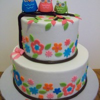 6 And 9 Inch Tiers Iced In Buttercream With Fondant Accents 6 and 9 inch tiers iced in buttercream with fondant accents.