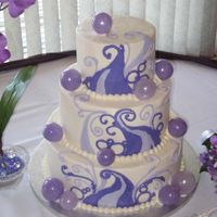 Purple Wave With Blown Sugar Balls Buttercream cake with blown sugar balls. The blown sugar balls were my first attempt by myself after taking my pulled and blown sugar class...