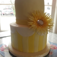 Sunny Bridal Shower Vanilla cake - each layer a different color - the bride-to-be's favorites - blue, green, pink and yellow. Iced with buttercream and...