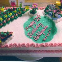 Minnie Mouse Garden Flower Birthday This was a 1/2 sheet buttercream cake for a little gitl who loves Minnie. Her mother found this Minnie & wheelbarrow top and wanted it...
