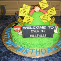 Over The Hill Birthday Cake   I made this cake for my sister's boss who was turning 40. My daughter made all the accents from MMF.