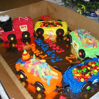 Train Birthday Cake   I made this cake for a little friend of mine that is turning two. The cars are made from mini loaf pans.