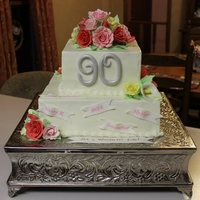 90Th Birthday Cake Buttercream With Gumpaste Flowers   90th birthday cake - buttercream with gumpaste flowers