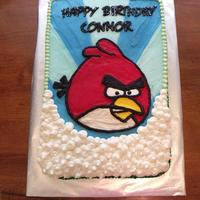 Angry Birthday Bird This was for my son's 11th birthday. Half red velvet, half dark chocolate cake. All buttercream decoration. I did a FBCT for the bird...