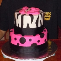 Pink Polka Dots And Zebra Strips. My daughter requested a hot pink and black cake with zebra strips. She was happy with it. Chocolate cake with cream cheese filling and...
