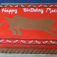 Bucking Bull And Kerchief Cake. My niece wanted a bucking bull and cowboy on her cake. She was happy with her cake. She always has an opinion on what she wants so it is...