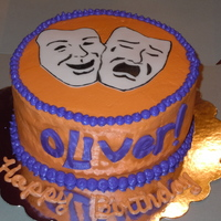 Oliver Birthday Cake. My friends son was in the musical Oliver. She asked for a cake with the masks and the Oliver done in the font from the musical. Her son...