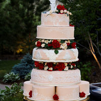 My Wedding Cake Picture of my own wedding cake. LOL....never make your own cake!!! Middle three tiers are cake....Neopolitan so three colors in each tier...