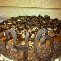 40Th Birthday Chocolate fudge cake, chocolate buttercream, ganache, nuts