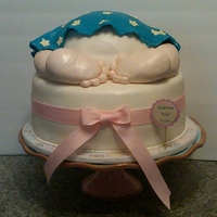 Baby Butt Baby Shower Cake I made for a friend of mine, everything is edible...the leg/feet are RKT.