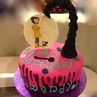 A Quick Cake I Did For A Friends Daughter Who Loves Coraline The Coraline Figure Is An Edible Image Transferred To A Button Moon Made Of G... A quick cake I did for a friends daughter who loves Coraline. The Coraline figure is an edible image transferred to a button moon made of...