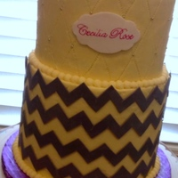 Yellow Grey Chevron Baby Shower Cake One of my most favorite and challenging cakes lately. The chevron was accomplished by following the instructions I found on this website...