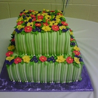 Flower Garden All royal icing flowers. Pin stripes are royal as well.