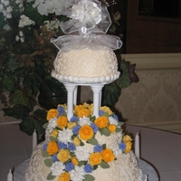 Floral Wedding Cake floral wedding cake with cornelli lace and royal icing flowers