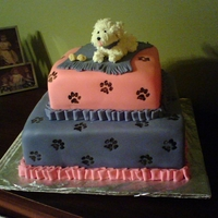 Puppy Dog Birthday Cake Square Fondant tiered cakes. Gumpase puppy covered in royal icing using the hair tip. Used a rubber stamp dipped in food color mixed with...
