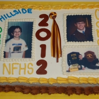Sorley's Graduation! My baby graduated! Chocolate cake with chocolate mousse, BC frosting. MMF decorations.