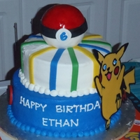 Pokemon For Ethan The ball is RCT and the symbols are fondant. Pokemon is all chocolate. I really liked making this cake; I didn't like fixing the top...