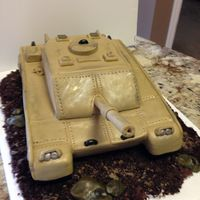 Army Tank Carved Out Of 2 9X13 And Covered In Fondant Army tank carved out of 2 9x13 and covered in fondant