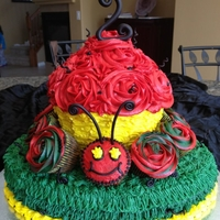 The Very Hungry Caterpillar Chocolate cake covered in BC. Black accents in fondant.