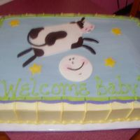 Cow Jumped Over The Moon 12 x 18 sheet cake....1/2 choc. & 1/2 white. Customer brought in napkin. BC frosting w/ fondant accents.