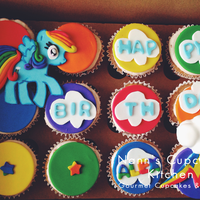 My Little Pony Rainbow Dash Custom Fondant Covered My Little Pony Cupcakes
