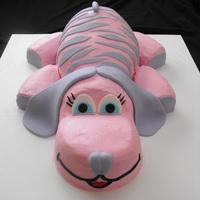 Pink And Purple Zebra Striped Puppy. The little girl wanted a pink and purple zebra striped puppy. This is what I came up with. It is all cake and fondant. I was told she cried...