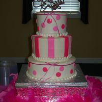 "Pink ""girly"" Shower Cake This was such a fun reception!! We had all shades of pink, boas, and all kinds of flowers everywhere. Thanks for taking the time to look..."