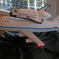 Space Shuttle Groom's Cake Discovery Space Shuttle on top of 747 Shuttle Aircraft Carrier. Working NAV lights on wings and back.