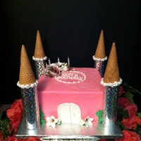 Princess Castle Birthday Cake Princess, castle, cake, double layer, chocolate, sugar, cone, birthday