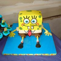 Spongebob Squarepants   Buttercream with fondant accents. Took picture after after he had been mauled a few times by the kids! Was fun cake to do!
