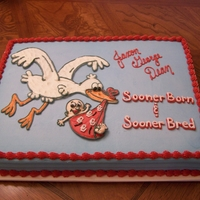 Ou Baby Shower This cake was designed to match the invitations.