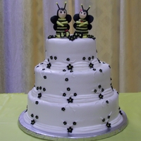 Bumble Bee Wedding Cake Bees are made of modeling chocolate. The first I ever made. If I can do this, anyone can. Fun to make.