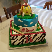 Girl's Zebra Softball Cake My niece plays softball and their mascot is a zebra.