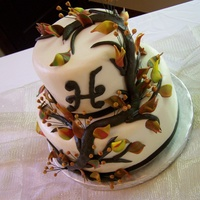 Branch Cake With Fall Leaves Branch cake with fall leaves.