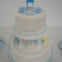 Baby Boy Shower Cake Shower cake for a baby boy. I used plastic baby blocks to spell out baby's name in center.