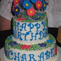 Charabes_Cake.jpg  Here's a birthday cake I made for my friend. The bottom layer is chocolate cake with chocolate whipped cream filling and the top layer...