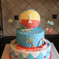 Beach Fun Mother sent me a picture with a beach ball on it. Ball is styrofoam, chocolate cake. Buttercream with fondant accents.