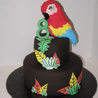 "Scarlet Macaw Bird Cake My son requested a ""bird"" cake. I figured something colorful would do the trick. Bird is RKT. Lemon chiffon cake with lemon curd..."
