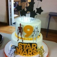 Star Wars Made in a hurry for my nephews birthday. Buttercream dream with MMF accents and toy figurines.