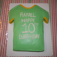Soccer Tshirt Chocolate cake with buttercream.
