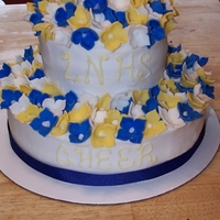 Flower Cake buttercream iced with fondant flowers on top