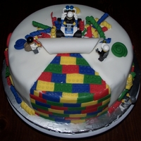 Lego Cake Fondant iced with fondant accents