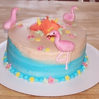 Flamino Cake   Buttercream iced with fondant accents
